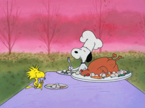 dinner, eat, eating, feed me, food, giving, hangry, hungry, lunch, meal, snoopy, thank, thanks, thanksgiving, turkey, yum, Thanksgiving Snoopy GIFs