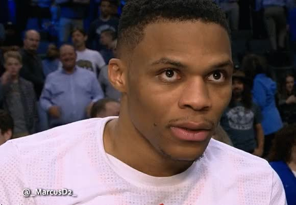 Watch and share Russell Westbrook Reaction After Perfect Triple Double. GIFs by MarcusD on Gfycat