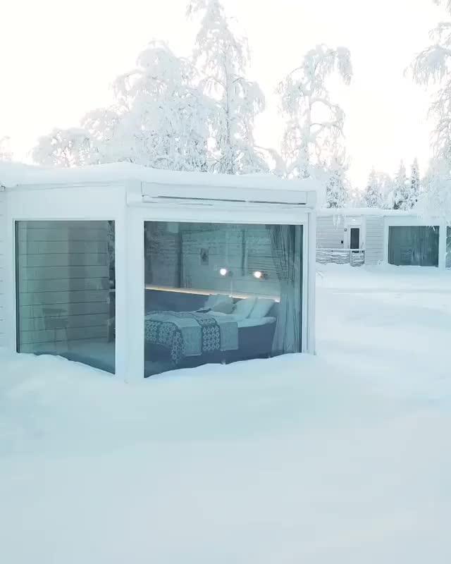 ⠀ Dreamy winter wonderland cabins ❄️ GIFs