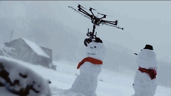 drone, drones, drone snowman GIFs