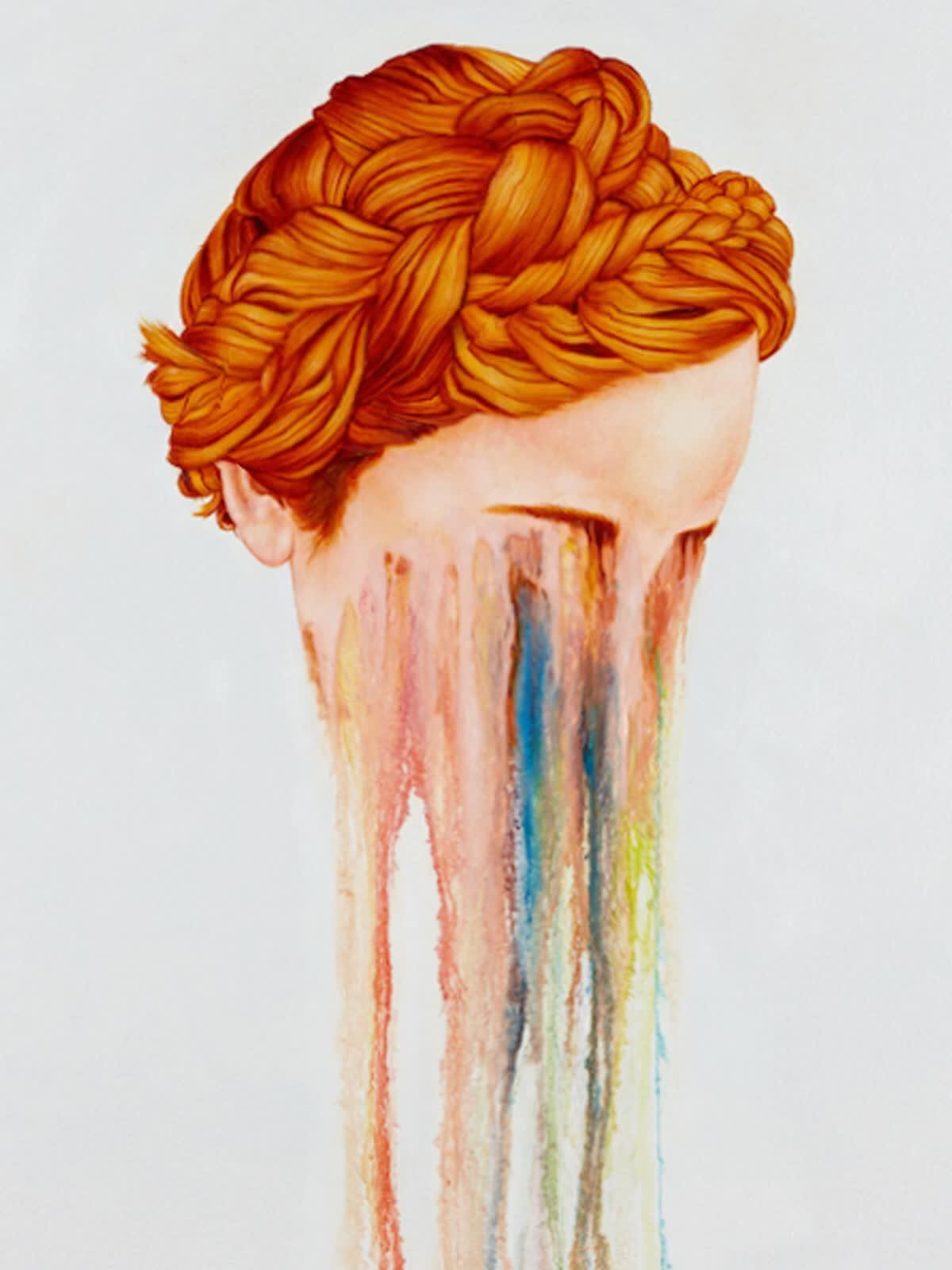 art, face, melting, trippy, watercolor, weird, woman, Melting Face GIFs