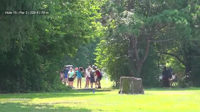Watch Round Four 2018 Ledgestone Insurance Open - Sarah Hokom hole 15 drive off basket GIF by Benn Wineka UWDG (@bennwineka) on Gfycat. Discover more Sports, dgpt, disc golf, disc golf pro tour GIFs on Gfycat