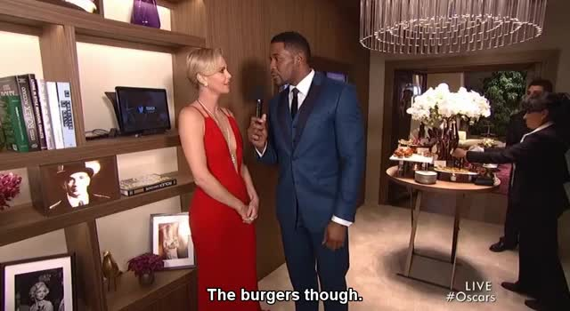 Watch Charlize Theron - Backstage at the Oscars GIF by Funny GIFs (@gnchau) on Gfycat. Discover more backstage, charlize theron, oscars GIFs on Gfycat