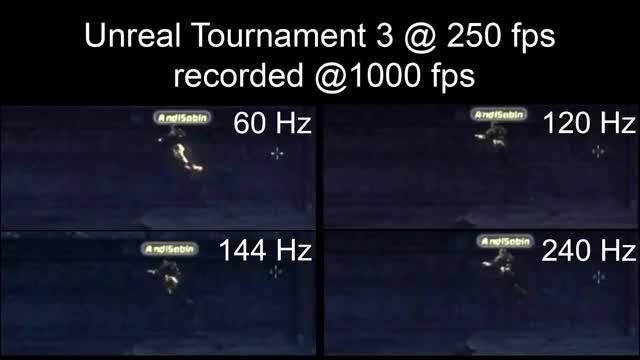 Watch and share [Slow Motion] 240Hz Vs 144Hz Vs 120Hz Vs 60Hz - Monitor Refresh Rates GIFs on Gfycat