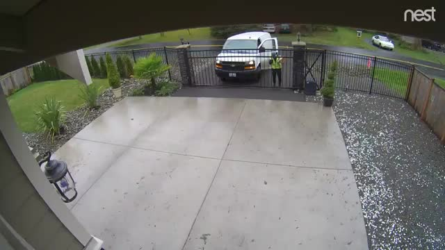 Watch and share Delivery Driver Throws Package Over The Gate GIFs by KSG on Gfycat