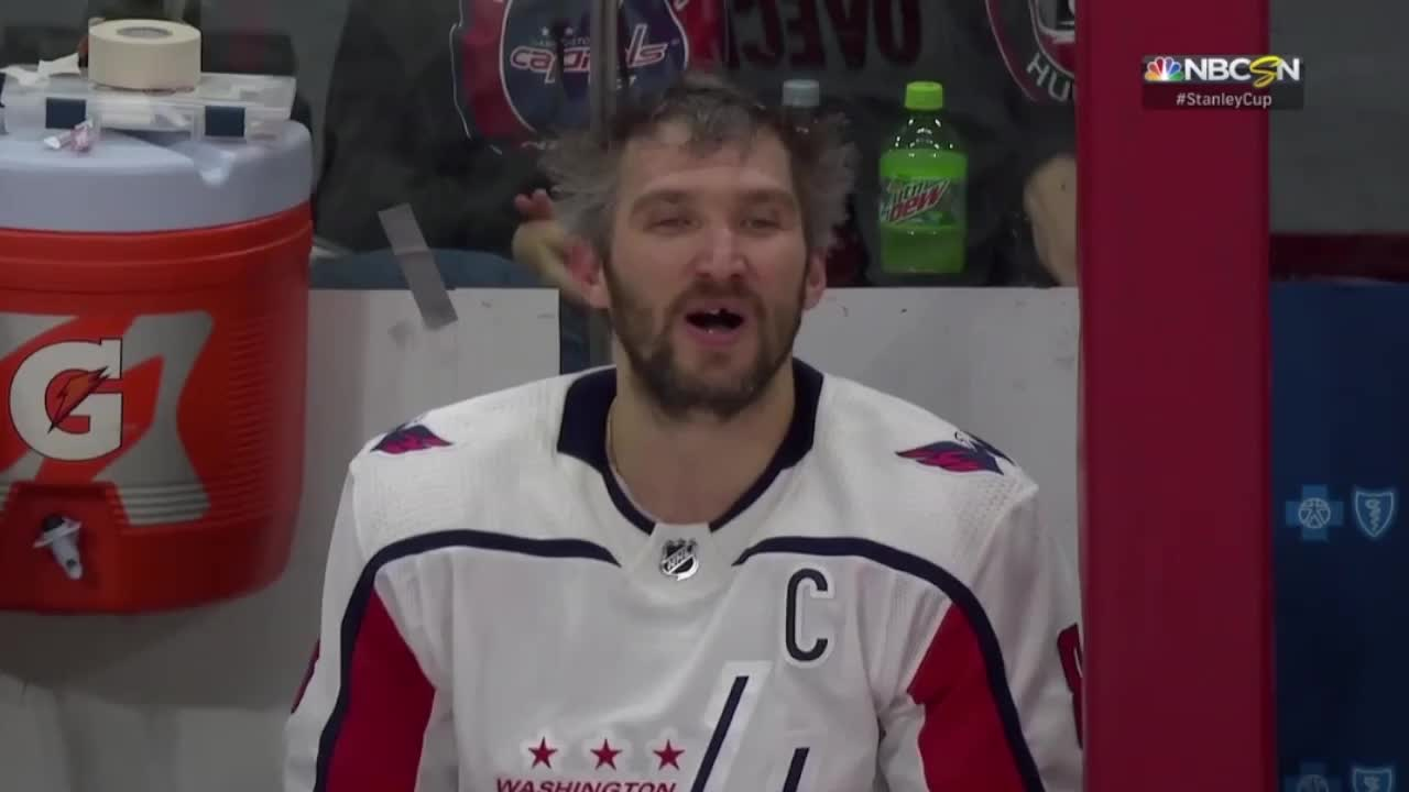 Alex Ovechkin screaming at the bench GIFs