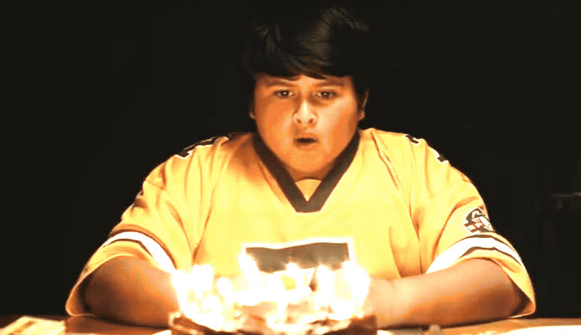 a, bday, birthday, blow, cake, candle, candles, fire, for, happy, happy birthday, hunt, make, people, ricky, surprise, the, wilder, wilderpeople, wish, Hunt for the wilderpeople - Ricky's bday GIFs