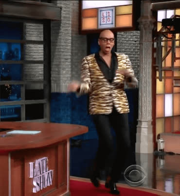 dance, fabulous, rupaul, sass, stephen colbert, strut, the late show, work, Rupaul Dance GIFs