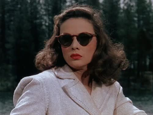 Watch this trending GIF on Gfycat. Discover more 1940s, beauty, color, fashion, film, film noir, gene tierney, gif, glamour, glasses, leave her to heaven, lipstick, movie, movie star, murder, noir, nostalgia, oleg cassini, psychopath, retro, star, style, sunglasses, technicolor, vintage GIFs on Gfycat