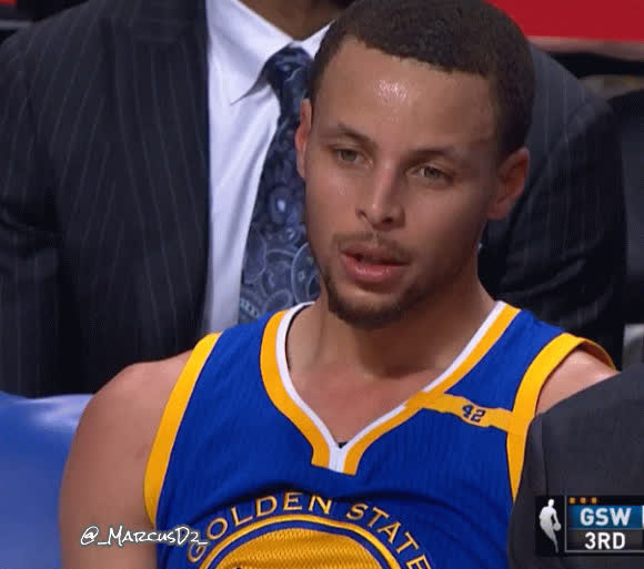 steph curry, stephen curry, Steph Curry breathing zoning out on bench. GIFs