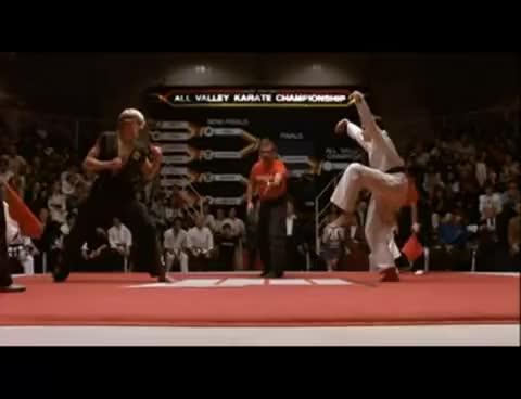 Watch and share Crane Kick GIFs and Karate Kid GIFs on Gfycat