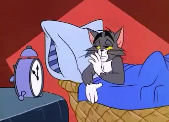 alarm, bed, cat, comfy, good, goodnight, late, night, pillow, sleep, sleepy, soft, tired, tom, Sleepy Tom GIFs