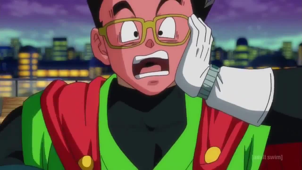 anime, blush, cocoa, dbs episode 74, gohan, great saiyaman, kiss, Cocoa Kisses Gohan GIFs