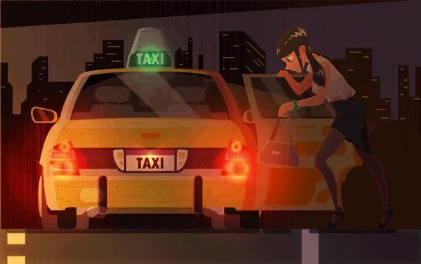 Гифка такси едет, папе
