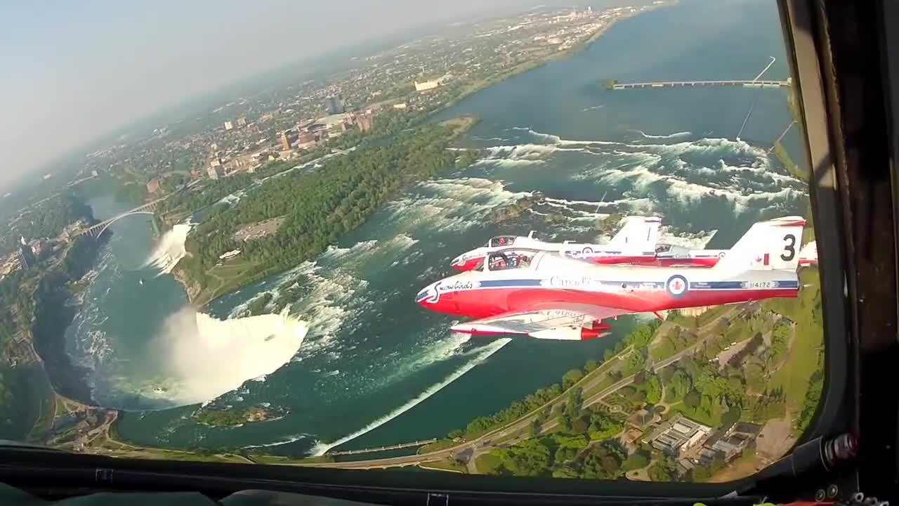 AirShow, Pilot, canada, ct-114, jet, niagara, snowbirds, Snowbirds Over The Falls -- Breathtaking Aerial Views of Niagara Falls -- HD Cockpit Video GIFs