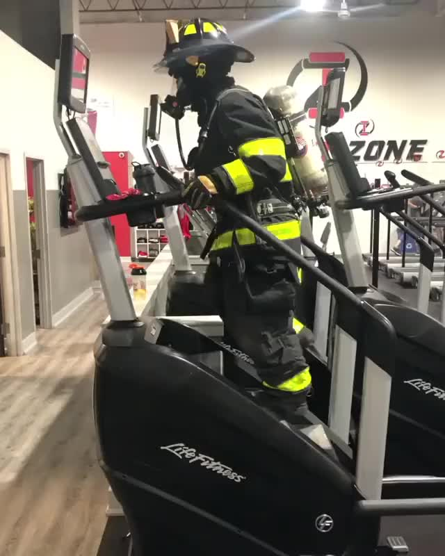 Watch and share Every Year Volunteer Fire Fighter Mike Bruno Climbs 110 Flights To Honor The ... GIFs by xxblackhawkxx on Gfycat